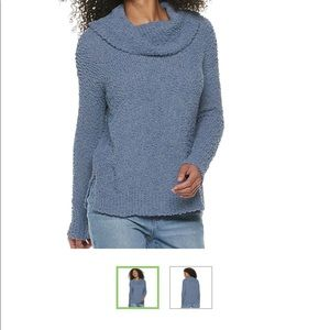 Pink Republic Cowlneck Pullover Blue Sweater